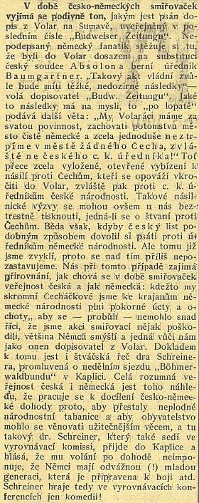 """Také Jihočeské listy si na Schreinerův kaplický projev """"v době česko-německých smiřovaček"""", jak píší, přisadily svou"""
