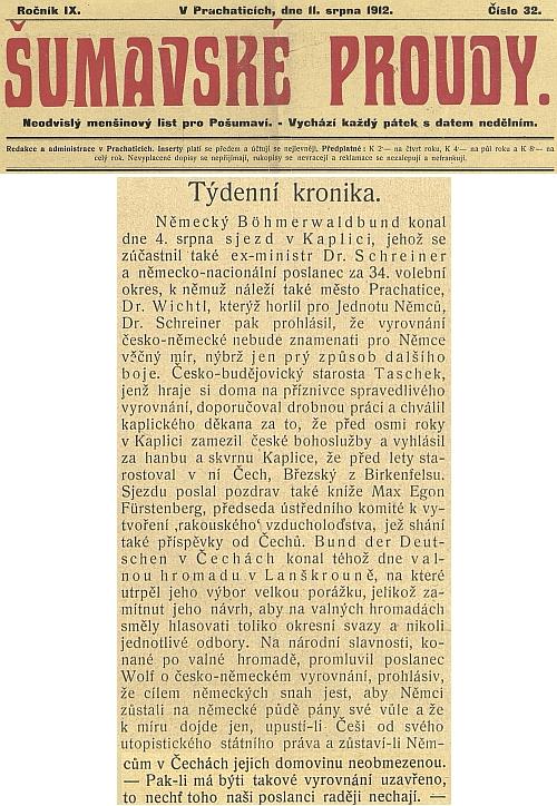 """""""Šumavské proudy"""" tu ve zprávě o kaplickém sjezdu sdružení Deutscher Böhmerwaldbund s vystoupením Schreinerovým o česko-německém vyrovnání vyzývají české poslance, ať snah o ně raději nechají"""