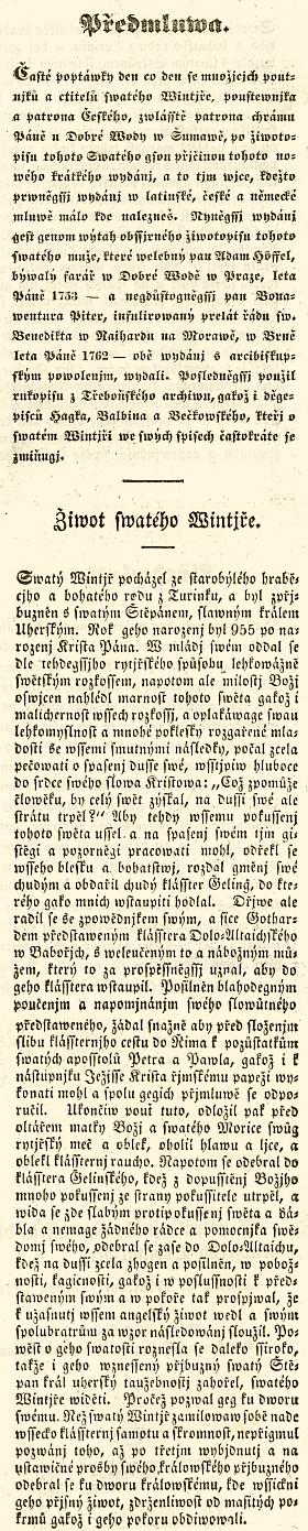Frontispis, titulní list a předmluva jeho knihy (1859) o sv. Vintíři z fondu knihovny Západočeského muzea v Plzni