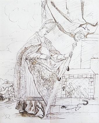Návrhová skica Kaspara Courtina pro boční oltář sv.Linharta v kostele sv. Štěpána v Bílé Hůrce