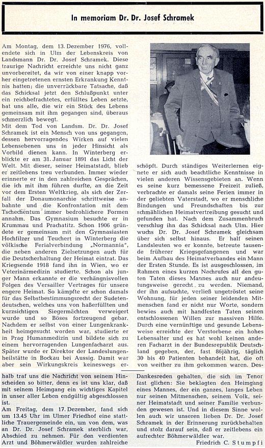 Obsáhlý nekrolog na stránkách krajanského měsíčníku, který napsal Friedrich C. Stumpfi