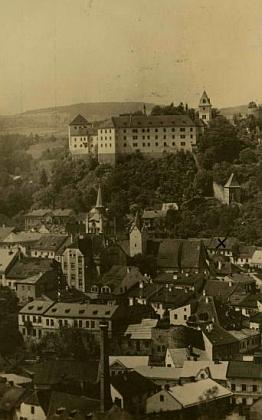 Rodný Vimperk na pohlednici Josefa Wolfa