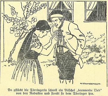"""Obálka kalendáře z českobudějovického nakladatelství """"Moldavia"""" a ilustrace k jeho povídce uvnitř"""