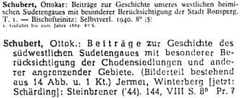"""Jeho práce o """"západní sudetské župě"""" z roku 1940 měla své pokračování na téma """"sudetské župy jihozápadní se zvláštním ohledem na Chodsko"""", vydání se ujala nakladatelská firma Steinbrener, která tehdy vedle Vimperka uváděla jako své sídlo iJaroměř (Jermer)"""