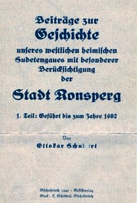 Obálka knihy (1940) o historii Poběžovic