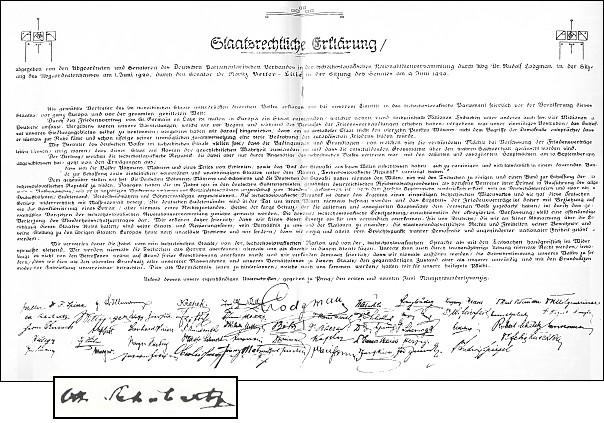 Jeho podpis figuruje v druhé řadě zleva na státoprávním prohlášení německých poslanců a senátorů československého parlamentu z 9. června 1920