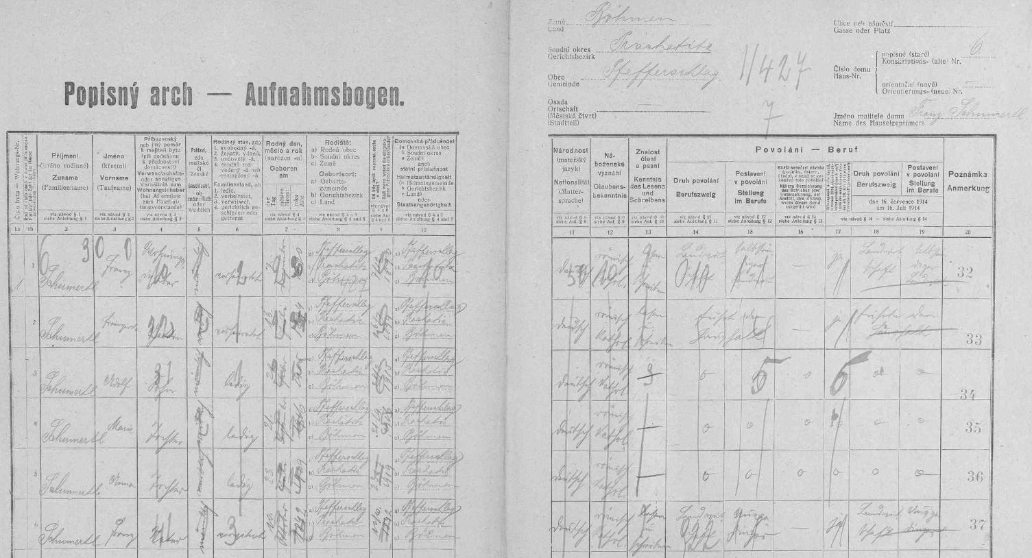 """Arch sčítání lidu z roku 1921 pro stavení čp. 6 na Libínském Sedle, kde tehdy bydlil se svou ženou, synem Adolfem, dcerami Marií a Annou, jakož i s otcem Franzem Schumertlem """"starším"""""""