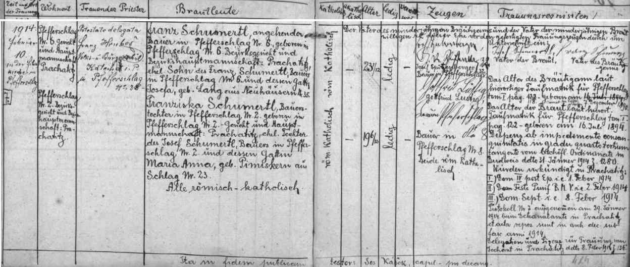 Záznam prachatické oddací matriky o jeho svatbě s Franziskou Schumertlovou