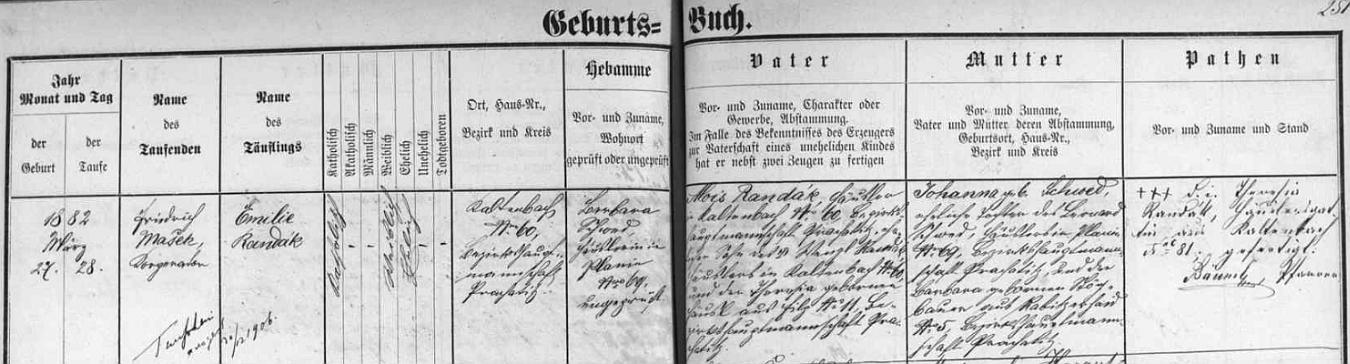 Tady novosvětská křestní matrika zaznamenává narození jeho matky Emilie dne 27. března roku 1882 v Kaltenbachu čp. 60 (den nato ji křtil ve dnes zbořeném kostele sv. Martina v Novém Světě kooperátor Friedrich Mašek) - dívčin otec Alois Randák, chalupník v Kaltenbachu čp. 60, byl synem Wenzla Randáka, který hospodařil na témže stavení před ním se svou ženou Theresií, roz. Häuslovou ue dnes zcela zaniklé Slatiny (Filz) čp. 11, matka dítěte Johanna byla dcerou chalupníka v Pláních (Planie) Leonarda Schweda a Barbary, roz. Stögbauerové ze dnes rovněž zaniklých Hrabických Lad (Rabitzerhaid) čp. 5