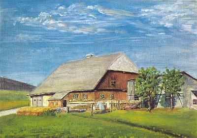 Rodný dům čp. 24 v někdejším Kaltenbachu na jeho malbě...