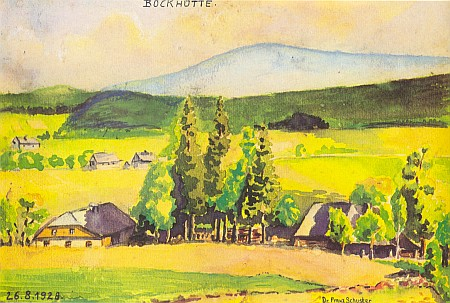 Dva jeho obrazy, ten horní, malovaný jím v 18 letech, signovaný a datovaný k roku 1928 možná s odstupem pamětníka už s titulem, který tehdy nemohl mít, zachycuje od rodné vsi obrys Boubína, dolní pak už brzy po vyhnání hledí v září 1947 od bavorské strany přes hranici na Světlé Hory