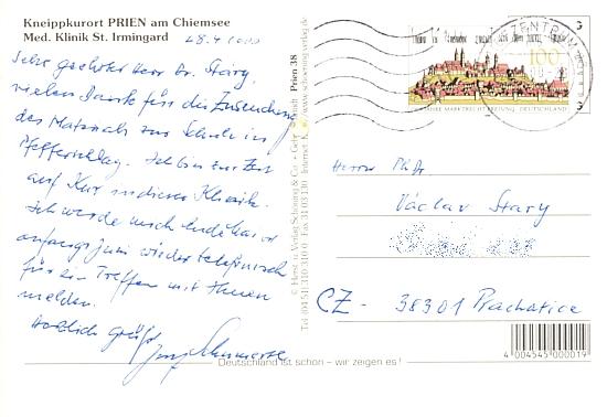 Takto napsal z lázeňské kůry do Prachatic historikovi Václavu Starému poděkování za spolupráci
