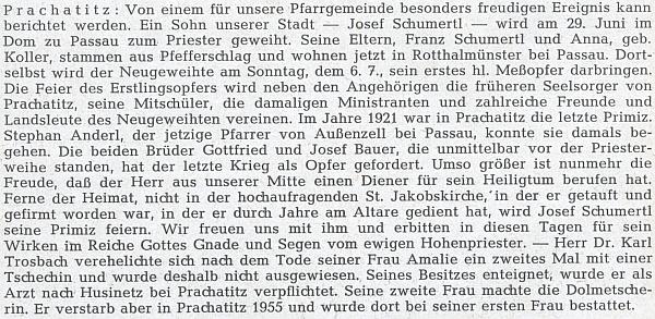 Zpráva o jeho kněžské primici v pasovském dómě v neděli 6. července roku 1958