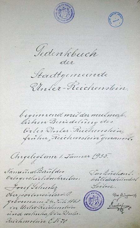 Titulní list rejštenské kroniky