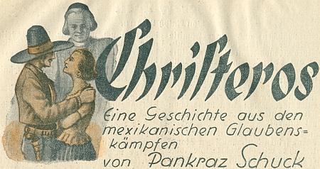 Záhlaví jeho povídky z historie Mexika v českobudějovickém kalendáři pro německy hovořící venkov