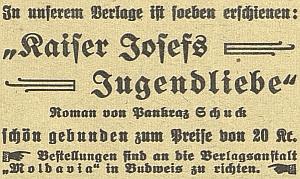 Inzerát na jeho knihu v českobudějovickém německém listě, román vyšel již roku 1925 a pak znovu ještě v roce 1931