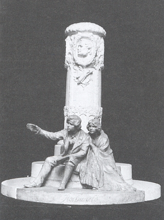 """Sochař Hans Schwathe (1870-1950), rodák ze Strachoviček (Strachwitzthal) v okrese Jeseník (dříve Gräfenberg), vytvořil vroce 1913 tento návrh na památník Stifterův ve vídeňském parku na """"Tureckých šancích"""" (Türkenschanzpark)"""