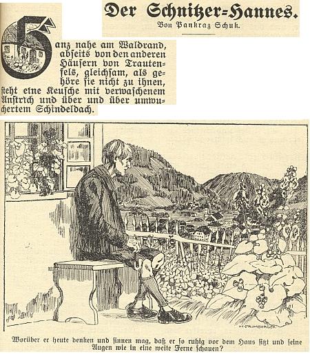 """Jeho povídka o řezbáři Hannesovi vyšla na stránkách budějovického kalendáře nakladatelství """"Moldavia"""" na rok 1929"""