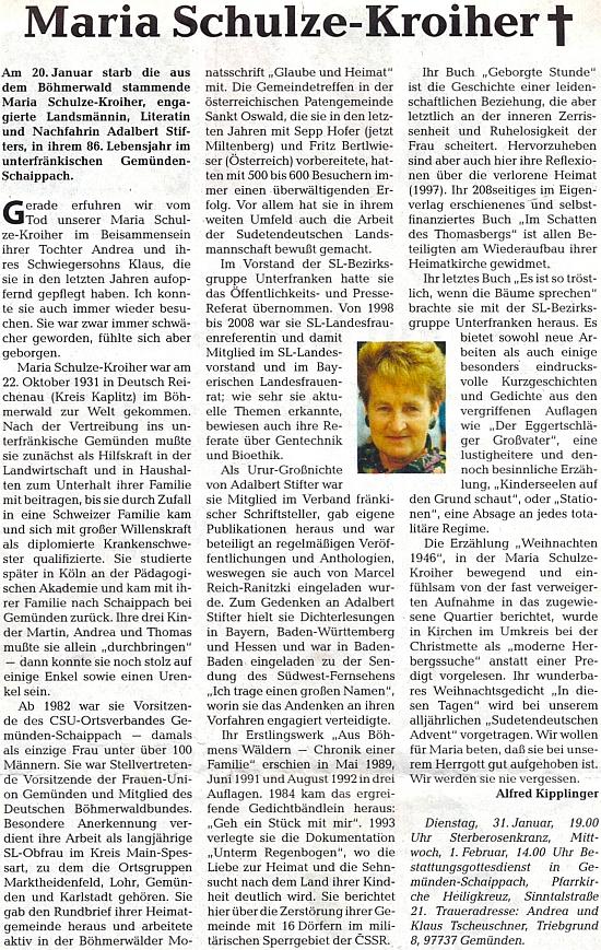 Obsáhlý nekrolog na stránkách ústředního krajanského listu