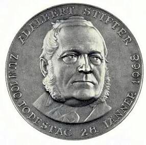 Medaile Adalberta Stiftera ke 100. výročí jeho úmrtí z roku 1968