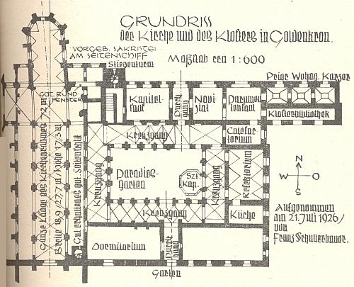 Půdorys kostela a kláštera ve Zlaté Koruně na jeho jménem označeném plánku z 21. července roku 1926