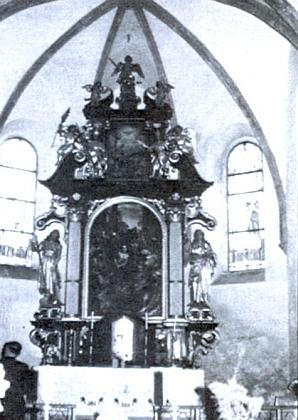 Původní interiér kostela ve Zbytinách (viz i Josef Mathe)