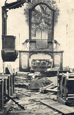 Takto vyhlížel vnitřek zbytinského kostela v roce 1969