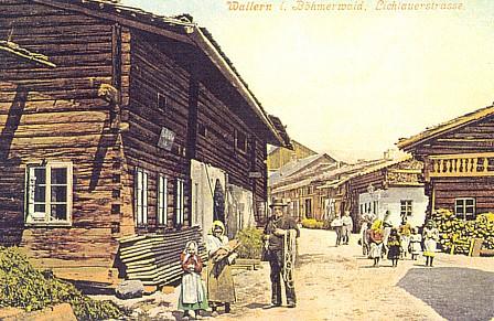 Volary na barevné pohlednici Josefa Seidela z r. 1905