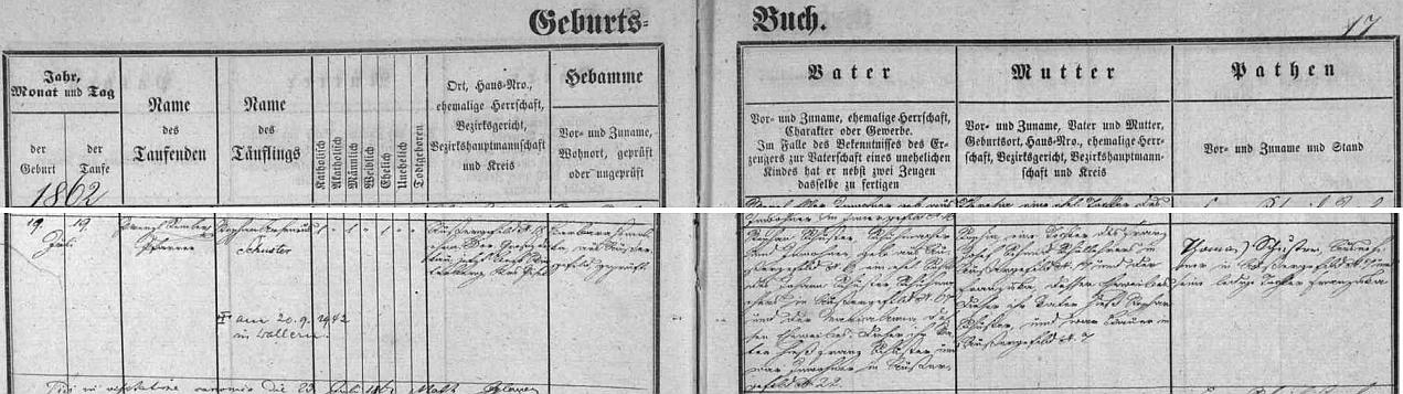 Podle záznamu v kvildské křestní matrice narodil se v rodině ševce Stephana Schustera (jeho otec Johann Schuster byl také ševcem v Kvildě) a jeho ženy Sophie, dcery Franze Josefa Schmida a Franzisky, roz. Schusterové - připsána je izpráva o smrti zde pokřtěného dne 20. září 1942 ve Volarech