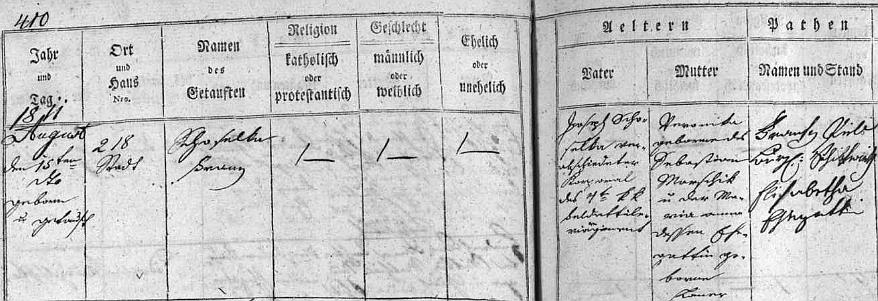 Zápis v českobudějovické matrice o jeho narození 15. srpna 1811 propuštěnému c.k. kaprálovi Josefu Schuselkovi a jeho ženě Veronice, roz. Marschikové