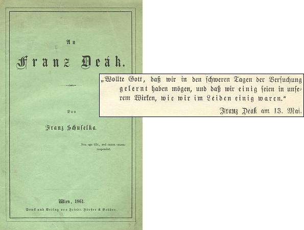 """Obálka (1861) jeho knihy, adresované Franzi Deákovi s citací slov toho, jemuž je určena, jako úvodním mottem: """"Dej Bůh, abychom se poučili z těžkých dnů pokušení a byli zajedno v našich počinech, jako jsme byli zajedno v bolesti."""""""