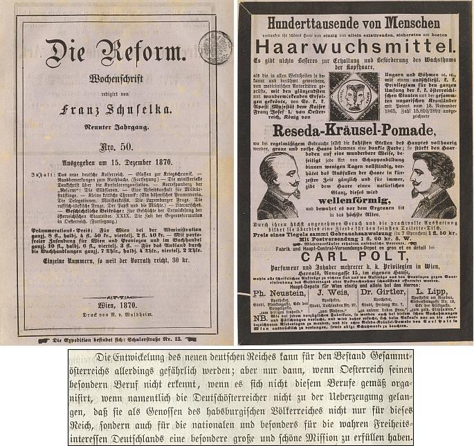 Obálka jednoho z čísel vídeňského týdeníku, který redigoval a poslední odstavec úvodního článku v něm
