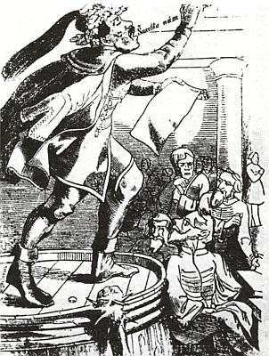 Havlíček se svým kupletem proti frankfurtskému parlamentu na soudobé karikatuře