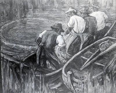 Jeho pastel nazvaný Abfischen, tj. Výlov rybníka