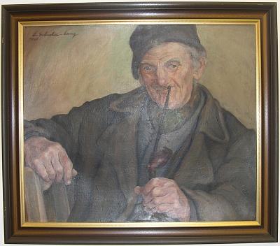 Olejomalba Emmi Schuster-Langové s názvem Alter Böhmerwäldler, tj. Starý Šumavan, pochází podle signatury zroku 1935 a do roku 1945 patřila k fondu Šumavského muzea (Böhmerwaldmuseum) v Horní Plané (Oberplan) - obraz je součástí sbírek Regionálního muzea v Českém Krumlově avletech 2013-2014 byl vystaven vexpozici hornoplánského rodného domu Stifterova