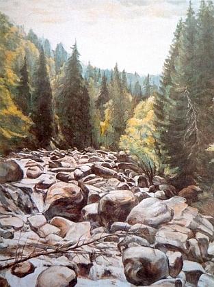 Údolí Vydry na nedatovaném obraze Emmi Schuster-Langové