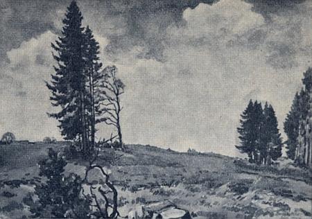 Černobílá reprodukce jeho akvarelu s názvem Nové pole (Das neue Acker)