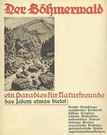 Obálka s jeho grafikou knihy vydané v Českých Budějovicích (1933, Bundesleitung des Deutschen Böhmerwaldbundes)