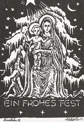 Vánoční přání (linoryt)