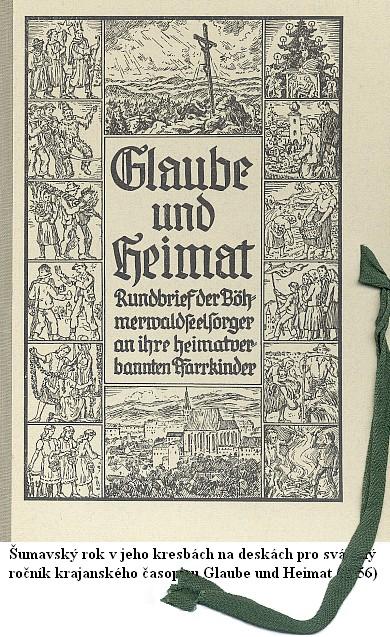Šumavský rok v jeho kresbách na deskách pro svázaný ročník krajanského časopisu Glaube und Heimat (1956)