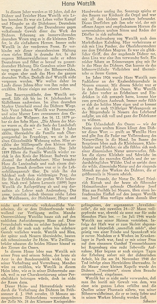 O životě Hanse Watzlika se takto rozepsal na stránkách přílohy krajanského časopisu