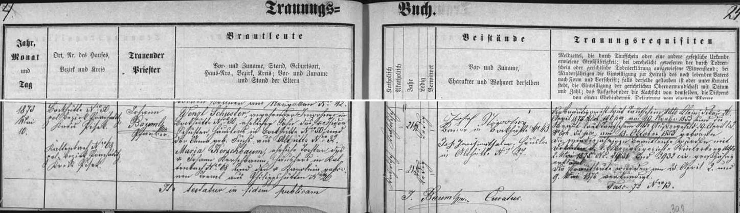 Záznam oddací matriky farní obce Nový Svět o zdejší svatbě Wenzla Schustera s Marií, roz. Kerschbaumovou dne 10.května roku 1875
