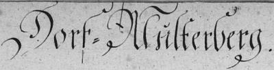 Záhlaví multerberské křestní matriky v matrice farní obce Rychnůvek, v níž je zaznamenáno jeho narození