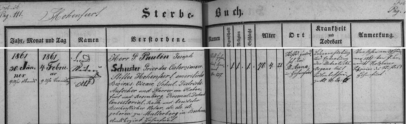 """Výrazný záznam ve vyšebrodské knize zemřelých o jeho úmrtí a pohřbu s podpisem opata Leopolda Wackarže vypočítává tituly zesnukého a uvádí i jeho rodiště, tj. """"Multerberg in Boehmen"""" - přesný čas skonu je tu uveden 30. ledna v devět hodin večer a za příčinu smrti označeno """"ztvrdnutí jater a degenerace vnitřních orgánů"""""""