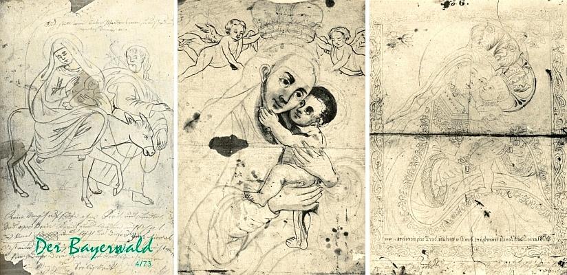 Přípravné kresby k podmalbám na skle jako ilustrace k jeho článku na toto téma v časopise Der Bayerwald