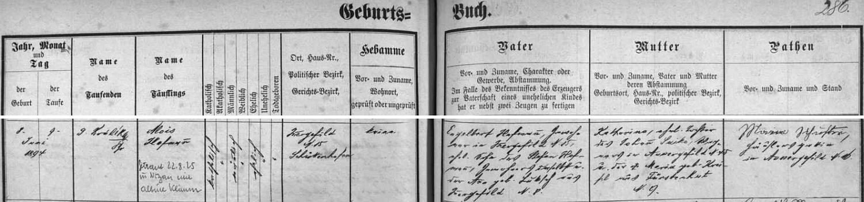Záznam kvildské křestní matriky o narození jejího otce i s přípisem o zdejší svatbě rodičů v srpnu roku 1925