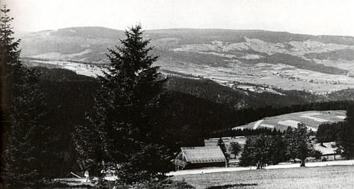 Uprostřed tohoto snímku, zachycujícího pohled od Zhůří na Hrádky (Schlösselwald) u Srní (Rehberg), vidíme střechu stavení čp. 12 Aloise Hofmanna a napravo od ní vykukuje z korun stromů střecha s komínem domu čp. 15, odkud pocházela Cäcilia, roz. Kricklová, o téměř 20 let mladší žena legendárního Seppa Rankla, se kterou měl sedm dětí