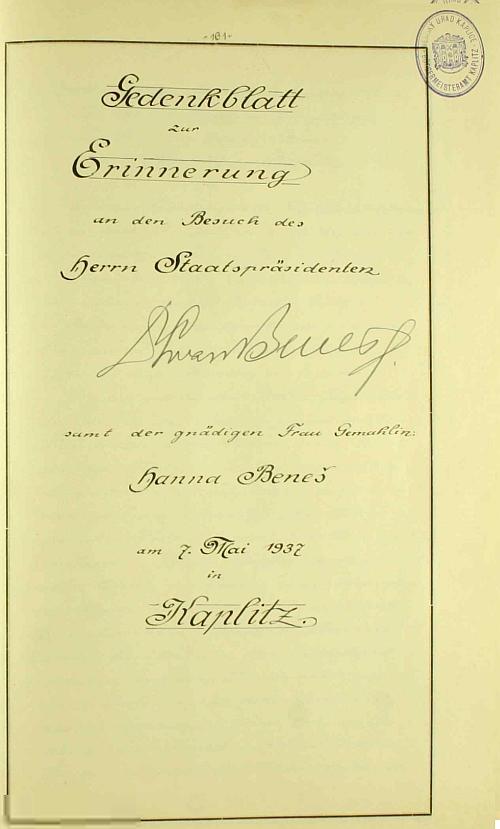 Prezidentův podpis v městské kronice