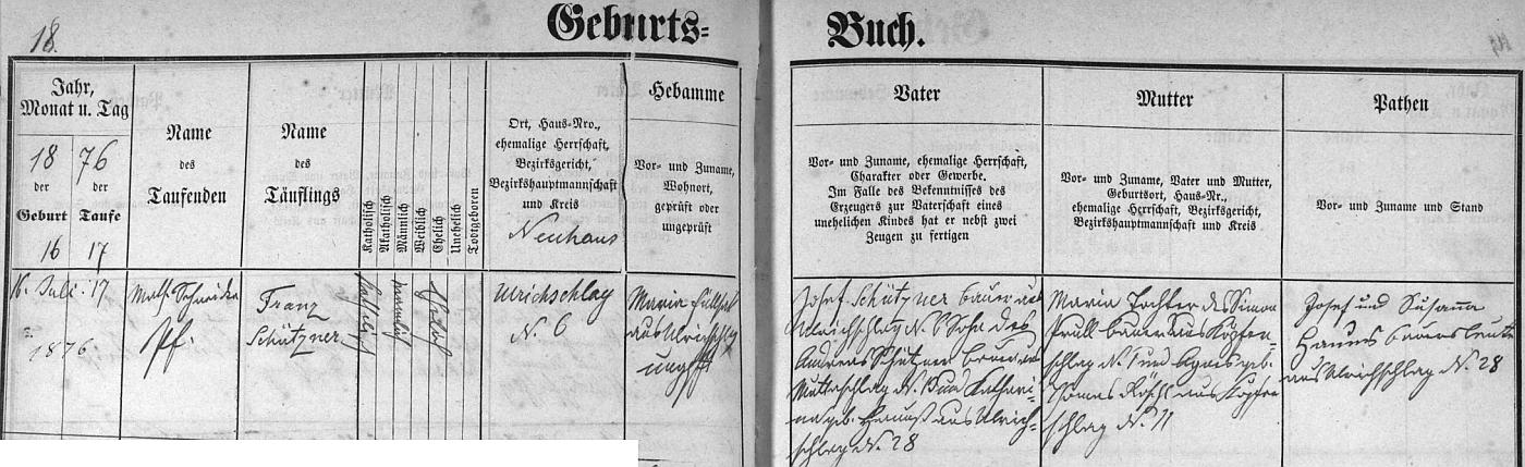 Záznam blažejovské křestní matriky o jeho narození v Oldřiši (Ulrichschlag)