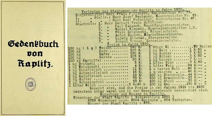 Titulní list a pasáž z kaplické pamětní knihy s jeho jménem v čele městské rady i s přehledem cen v roce 1922 a počtem obyvatel města a jeho domů